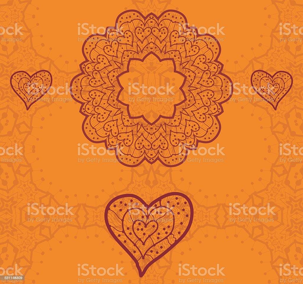 Valentine card design. Ornamental orange vector flyer. Love card. Heart vector art illustration