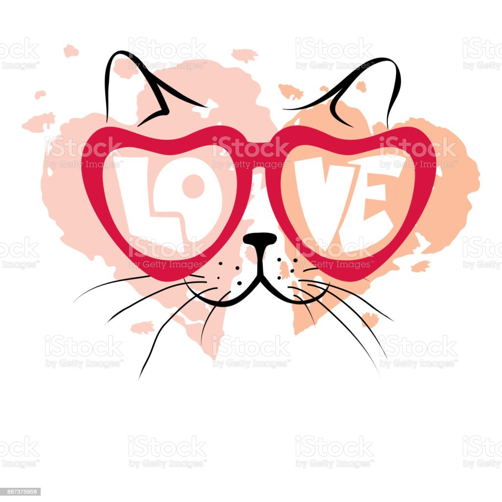 Valentinstag Karteverliebte Katze Stock Vektor Art Und Mehr Bilder