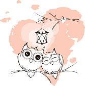 Vector illustration, valentine card - love owls