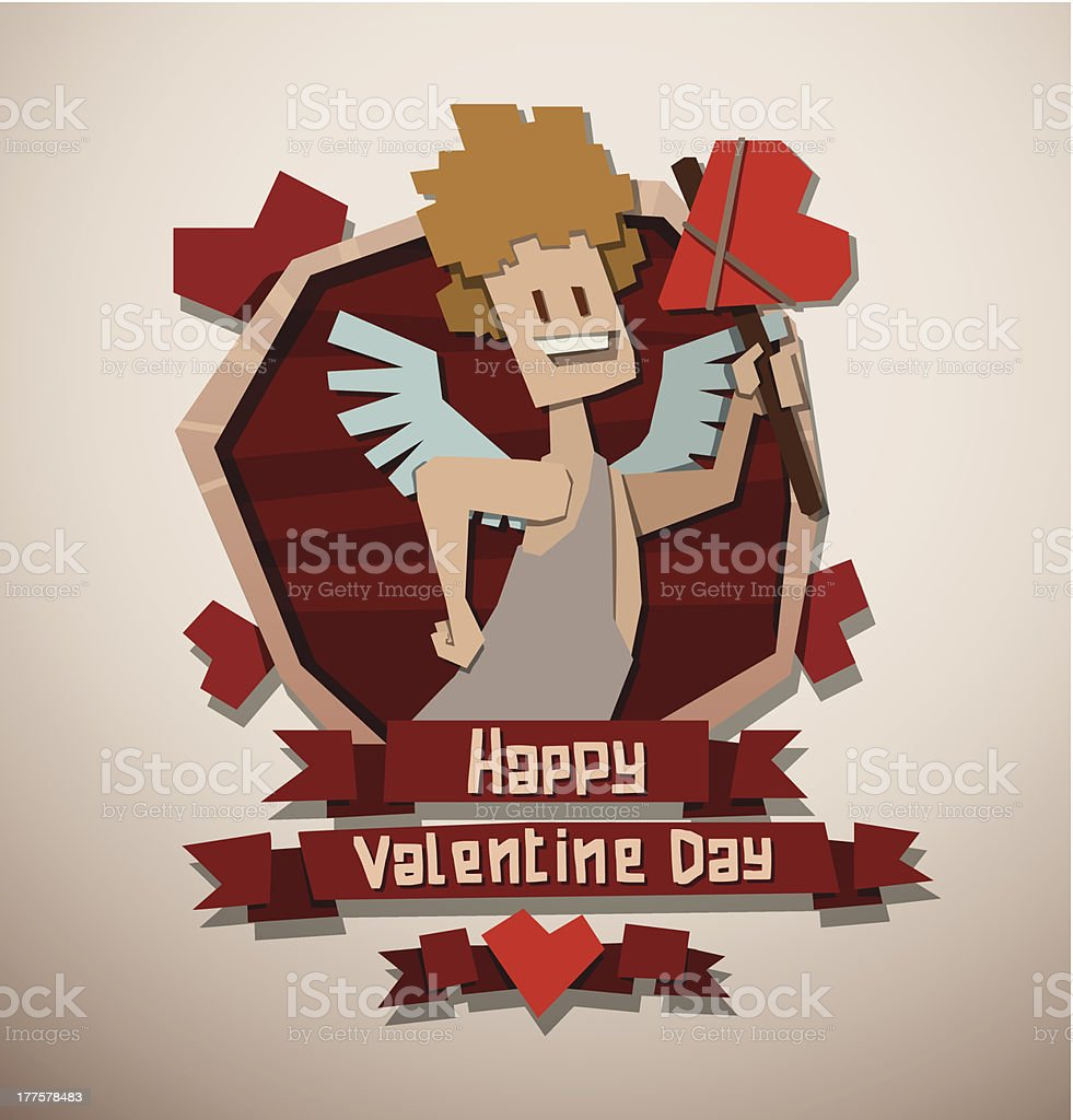 Valentine card paper angel with an ax royalty-free stock vector art