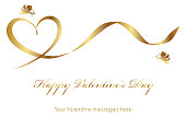 Valentine card template with a gold ribbon, cupids, and text space, vector illustration.