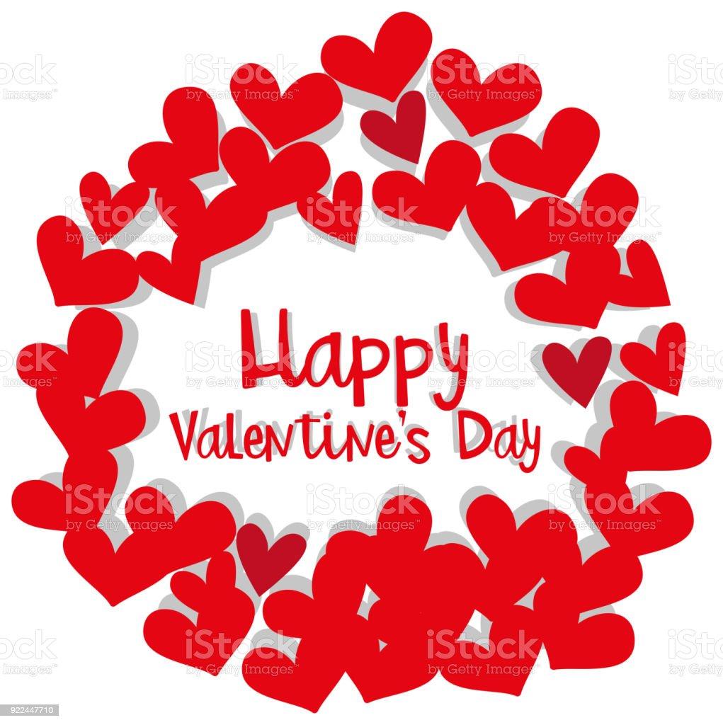 Valentinstag Kartenvorlage Mit Herz Rahmen Stock Vektor Art und mehr ...