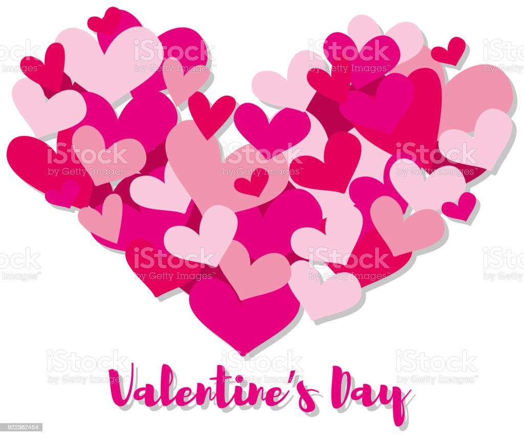 Valentine Card Template With Pink Hearts Stock Illustration Download Image Now Istock