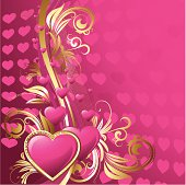 Vector illustration valentine greeting card with pink heart
