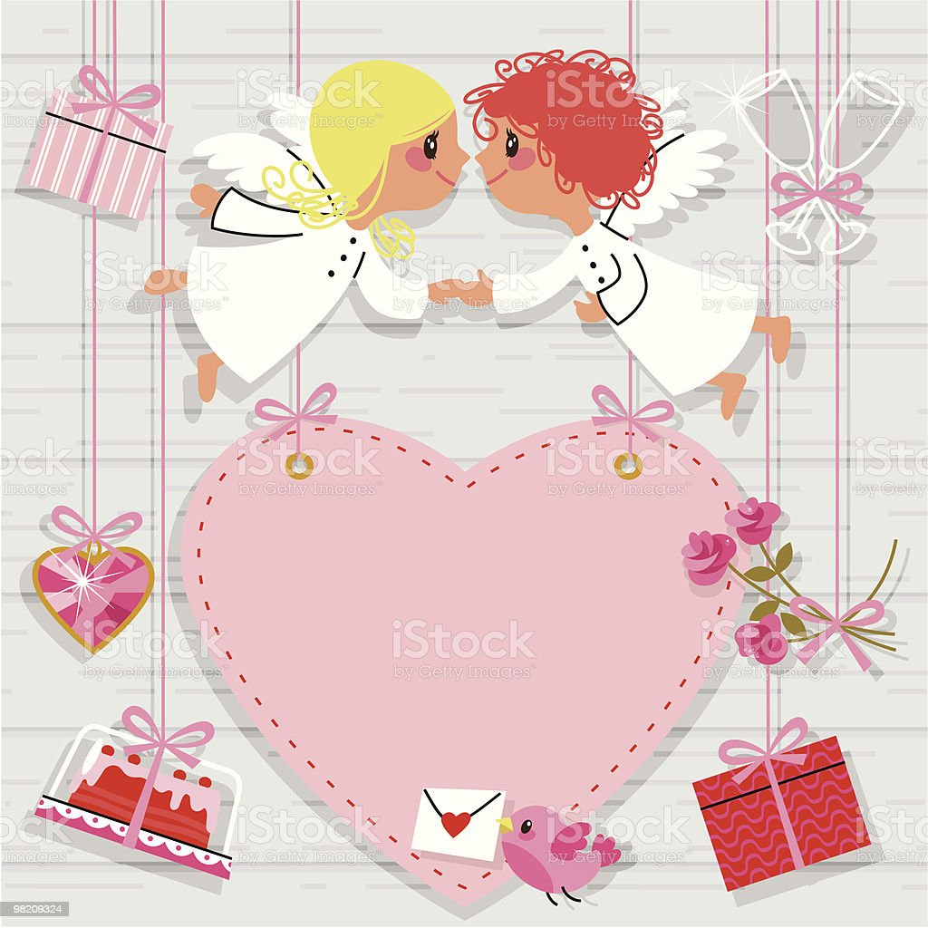 Valentine Card. royalty-free valentine card stock vector art & more images of angel