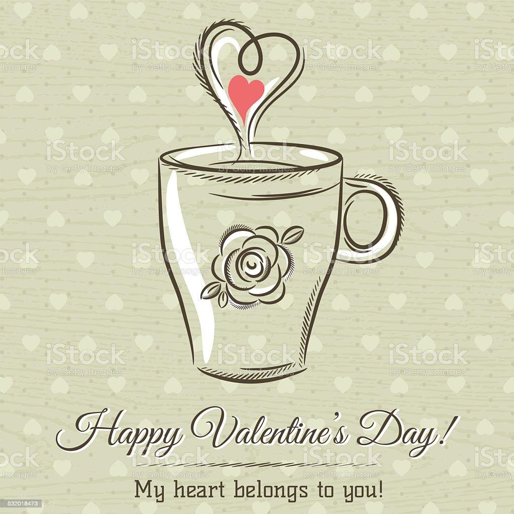 Perfekt Valentinstag Karte Mit Tasse Heißes Getränk Und Wünsche Text Lizenzfreies  Vektor Illustration