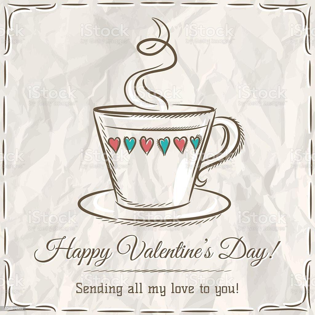 Valentinstag Karte Mit Tasse Heißes Getränk Und Wünsche Text Lizenzfreies  Vektor Illustration