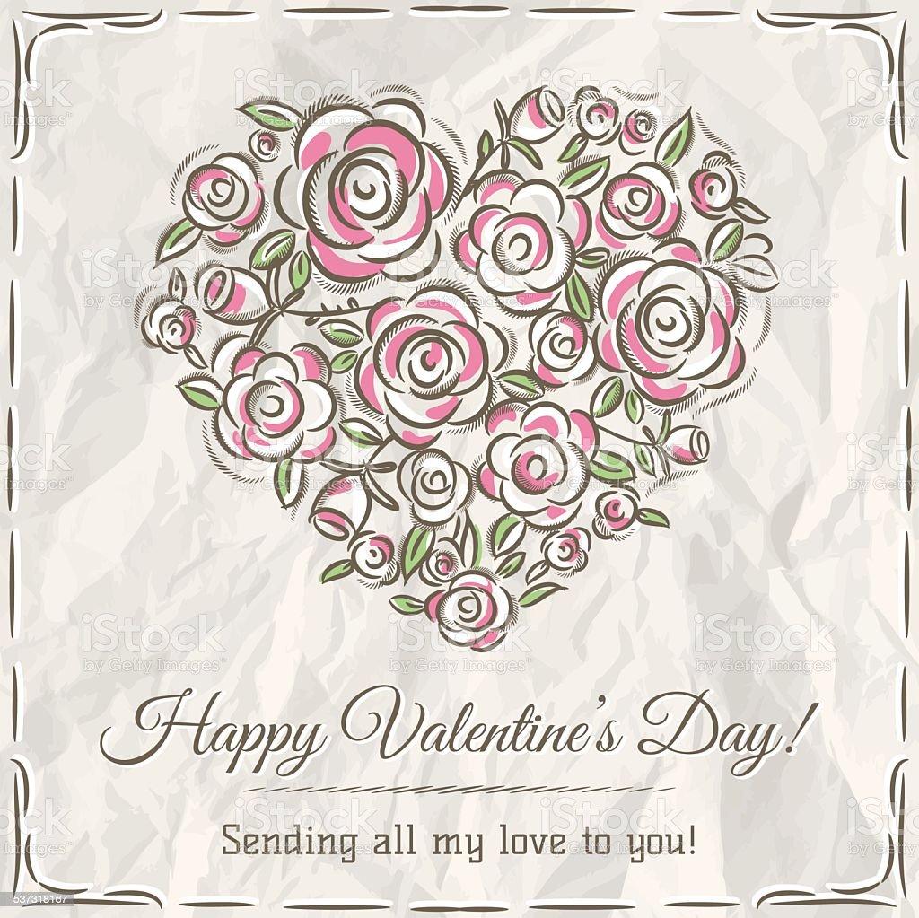 Valentinstag Karte Mit Herz Aus Blumen Und Wünsche Text Lizenzfreies Vektor  Illustration