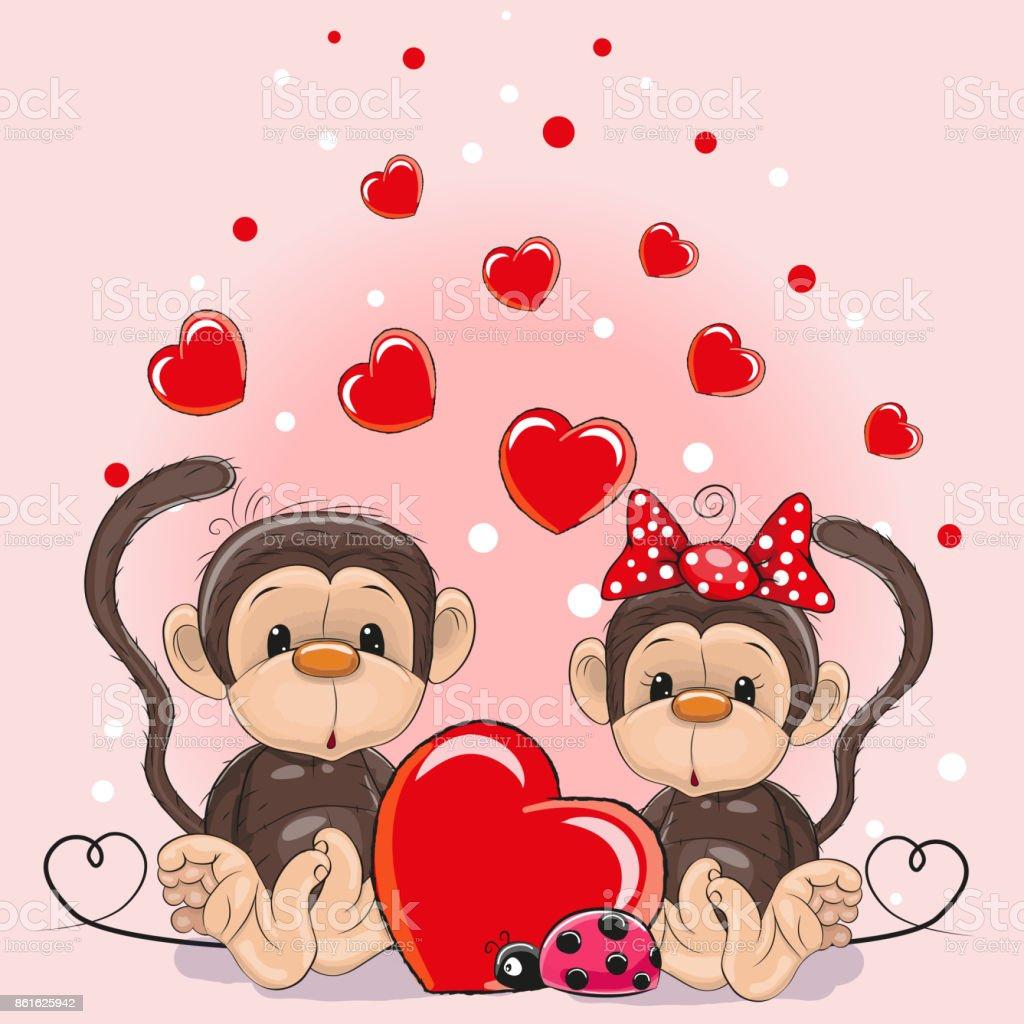 Ilustración de Tarjeta De San Valentín Con Los Amantes De Los Monos ...