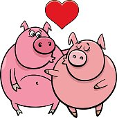 Valentines Day Greeting Card Cartoon Illustration with Pig Characters in Love
