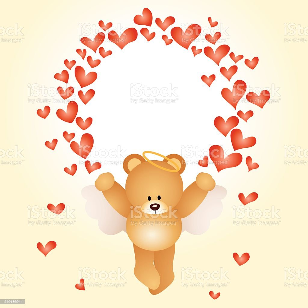 Valentine Card With Teddy Bear With Hearts向量圖形及更多丘比特圖片