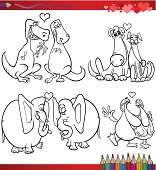 Valentines Day and Love Themes Collection Set of Black and White Cartoon Illustrations with Animals Couples for Coloring Book