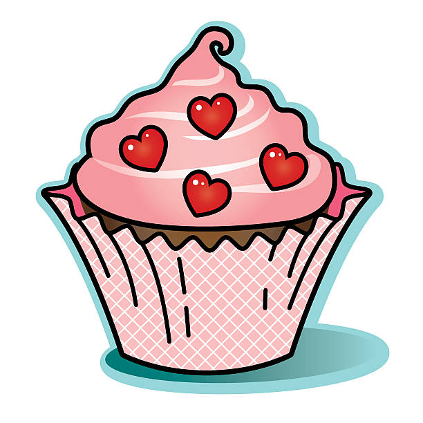 Valentine chocolate cupcake pink icing wrapper red heart candy vector art illustration