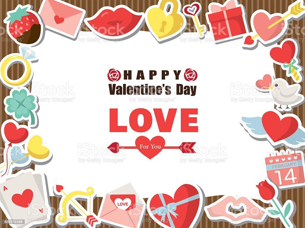 Valentine colorful icon frame vector art illustration