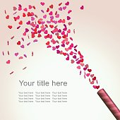 Abstract Bright Valentine's Day Background with colorful heart confetti, vector illustration