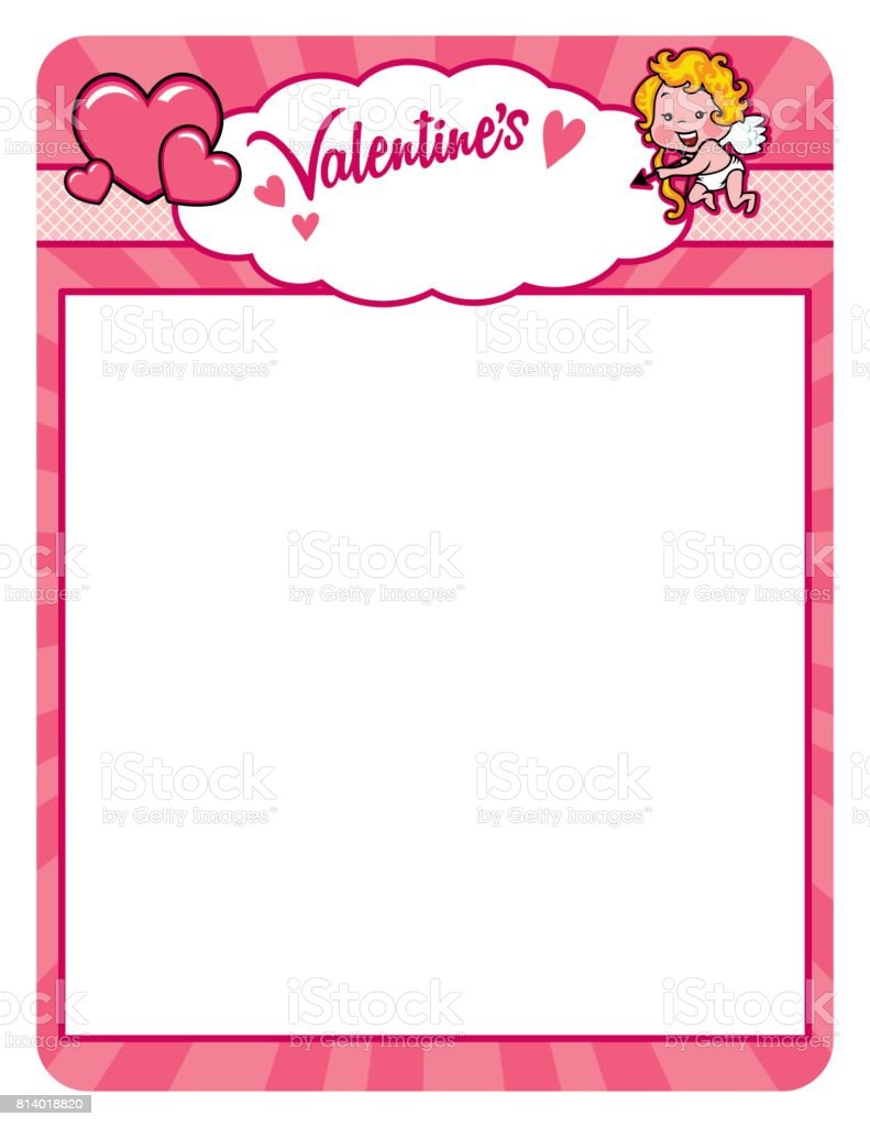 Valentine cupid frame with hearts vector art illustration