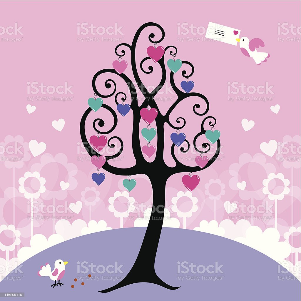 Valentine cute curly tree card royalty-free valentine cute curly tree card stock vector art & more images of bird