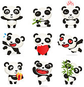 Valentine Cute panda set, with nine different panda bears in different situations like: opened arms panda, eating plant, thinking too much, holding heart, in love eyes, with present, jumping and holding plant vector illustration.