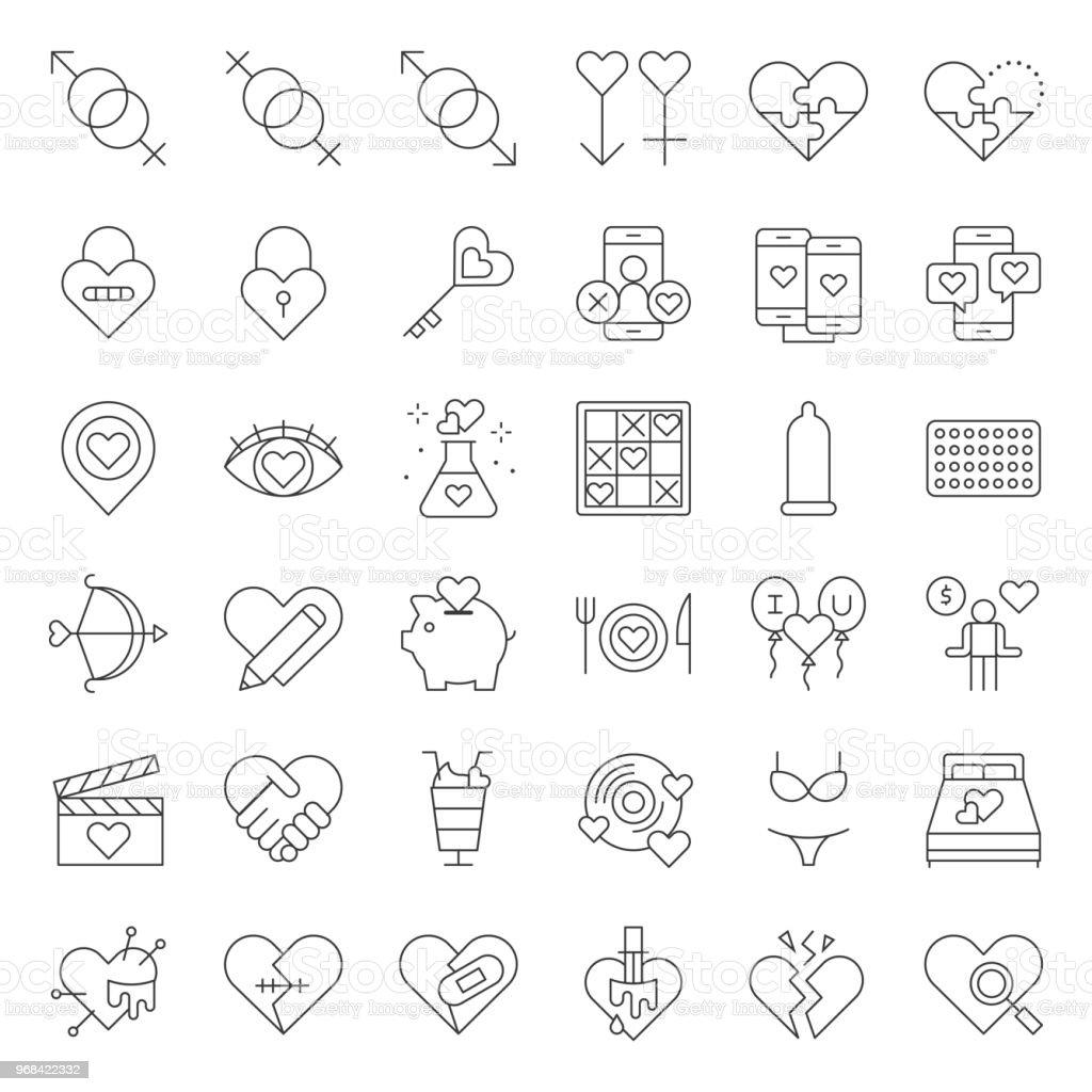 Valentine, Dating, Liebe und Romantik Linie Icon-Größe 128 px, gestützt auf Grid-System – Vektorgrafik