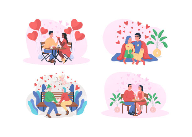 Valentine day 2D vector web banner, poster set Valentine day 2D vector web banner, poster set. Romantic dinner. Boyfriend and girlfriend. Dating flat characters on cartoon background. Happy couple printable patch, colorful web element collection african american valentine stock illustrations