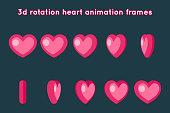 Valentine Day 3d Heart Rotation Animation Frames Flat Set Design Vector Illustration