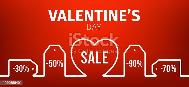 istock Valentine day banner. Outline Price tag, heart shape and discount percent. Vector set blank price tag coupons on red background for love valentine day sale for decoration and covering 1290688401