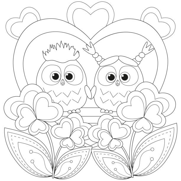 valentine day black and white poster with an owl couple. - black and white owl stock illustrations, clip art, cartoons, & icons