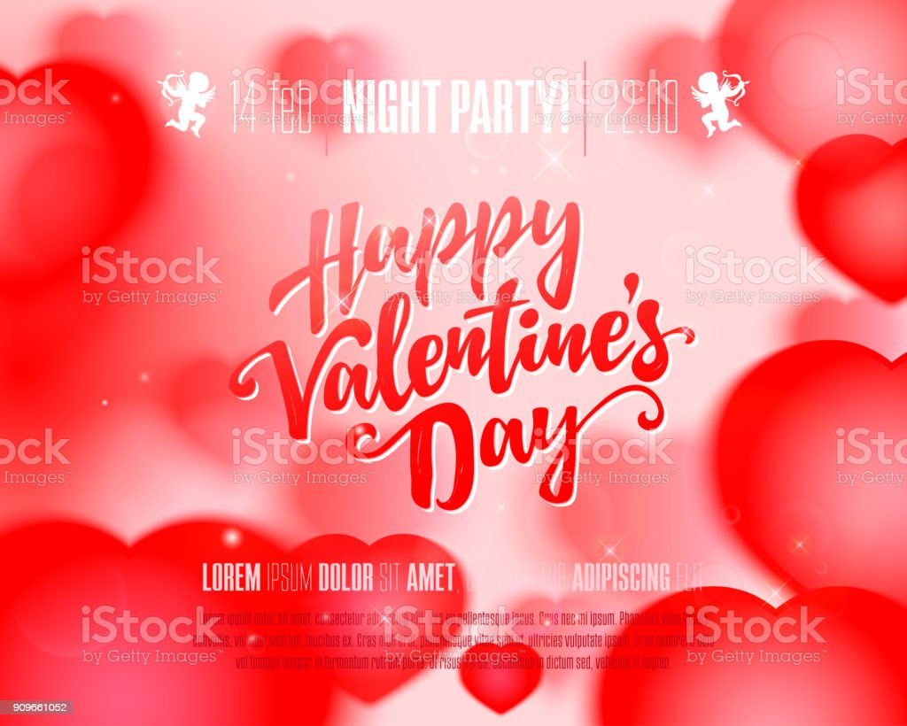 Valentine Day Flyer Stock Vector Art More Images Of Art 909661052