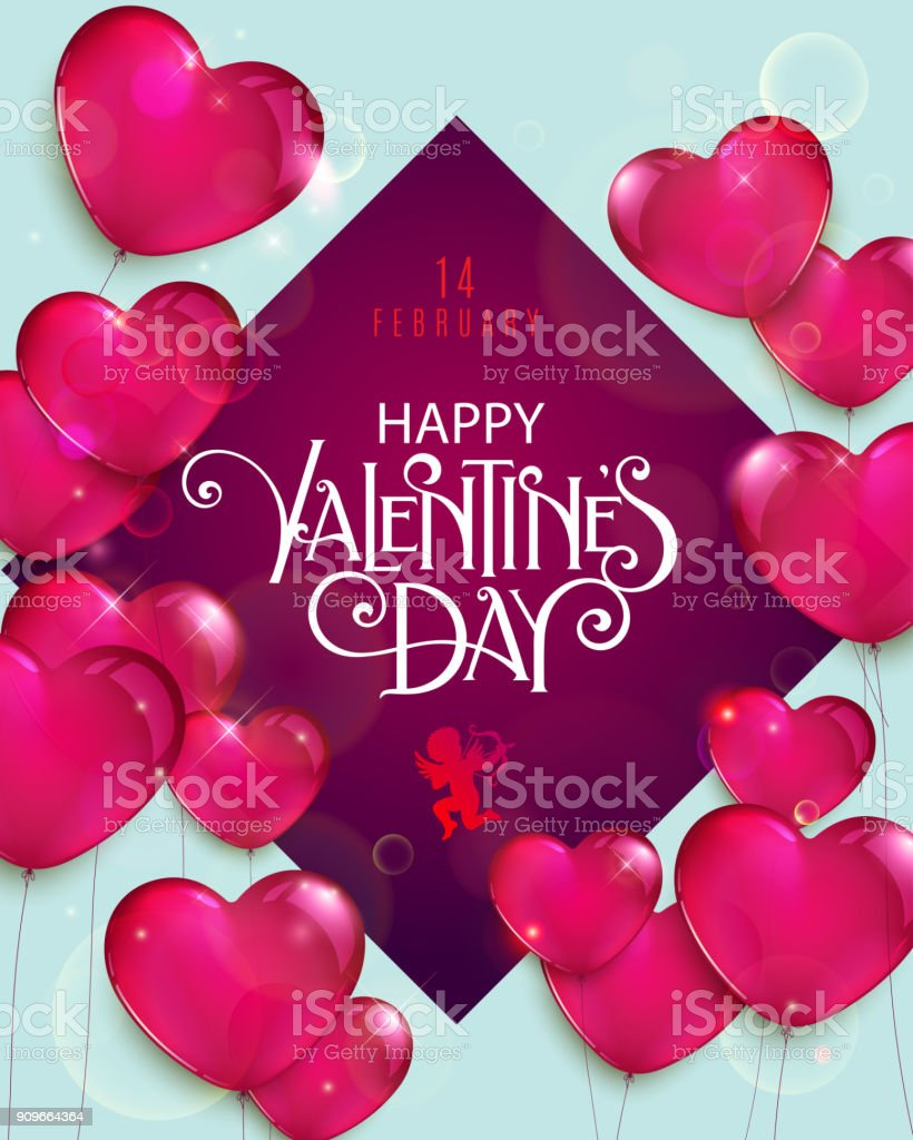 Valentine Day Flyer Stock Vector Art More Images Of Art 909664364