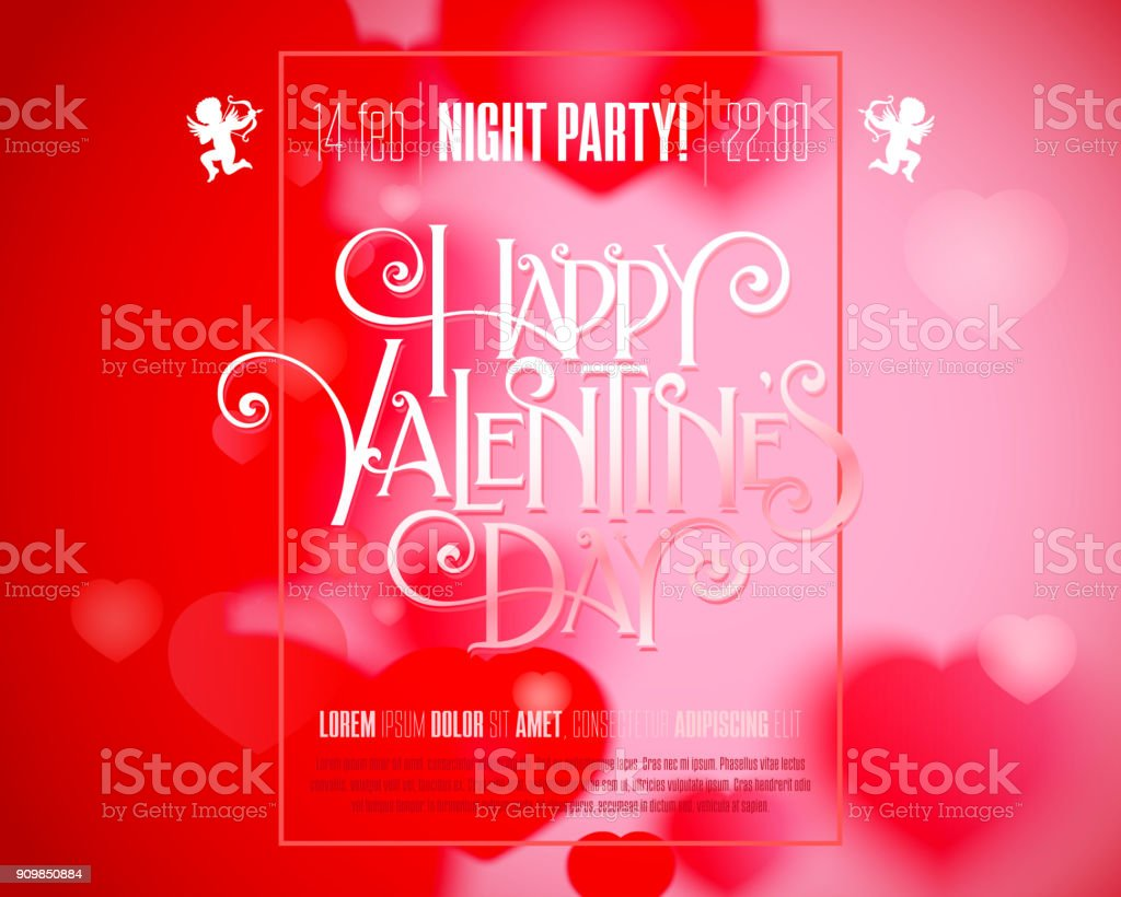 Valentine Day Flyer Stock Vector Art More Images Of Art 909850884