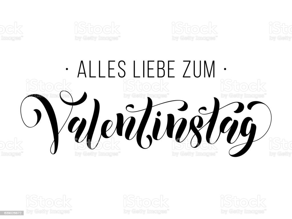 Valentine Day German Text Valentinstag Greeting Card Stock Vector Art  639026872 | IStock