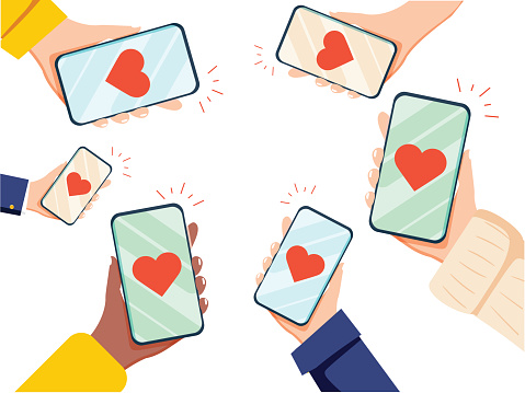 Valentine Day Gift Card Holiday Love Hands Hold Cell Smart Phone with hearts. Social Network Communication Flat Vector