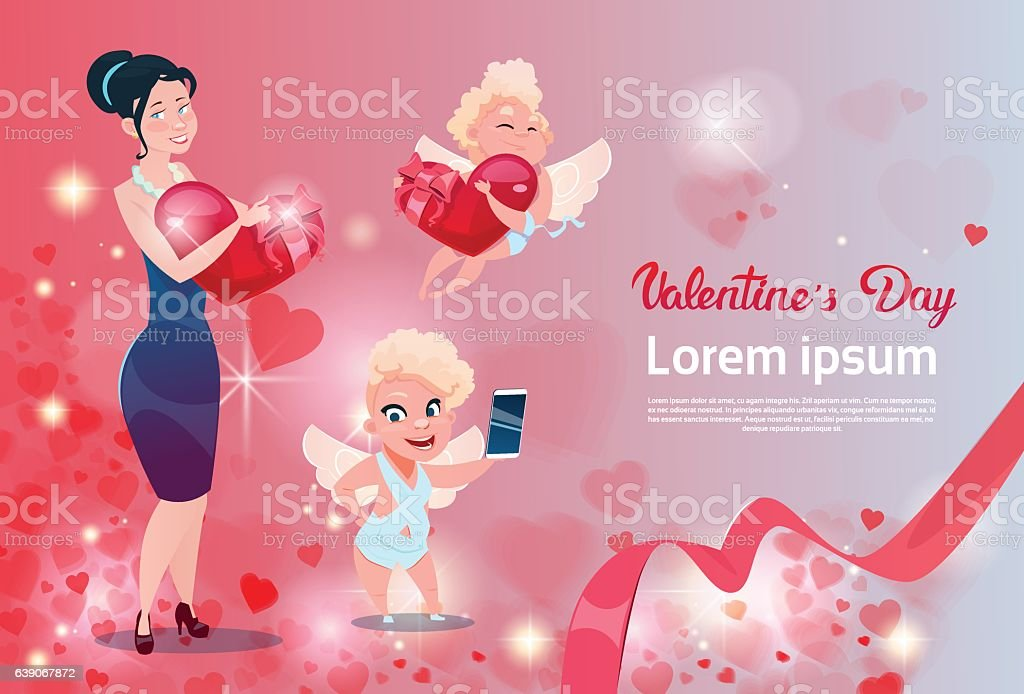 Valentine Day Gift Card Holiday Love Woman With Cupid Group Stock