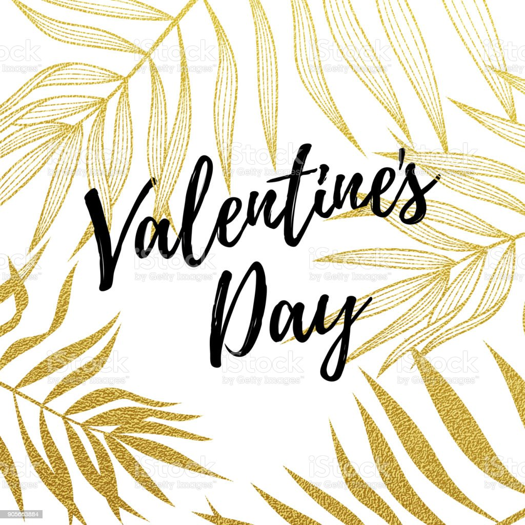 Valentine Day Greeting Card Design Template Of Golden Palm