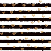 Valentine' Day greeting card with black horizontal lines and gold hearts. Vector.