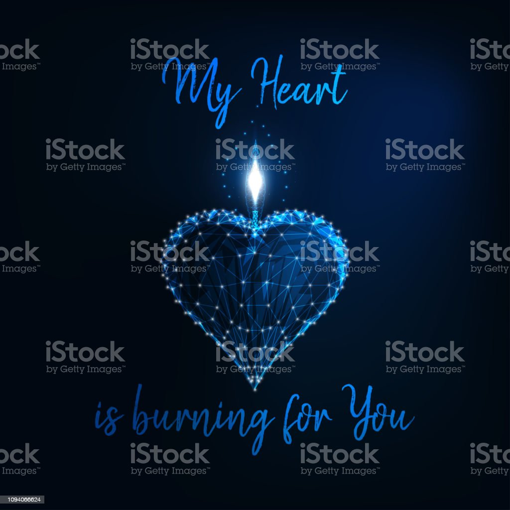 Valentine Day greeting card with glowi low poly heart candle amd text My Heart is burning for you