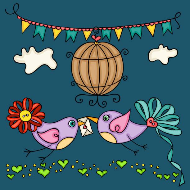 illustrations, cliparts, dessins animés et icônes de carte de voeux de jour de valentine avec deux oiseaux d'amour mignon - cage animal nuit
