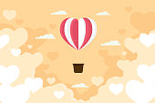 Valentine day heart balloon flying on the sky abstract background. illustration vector