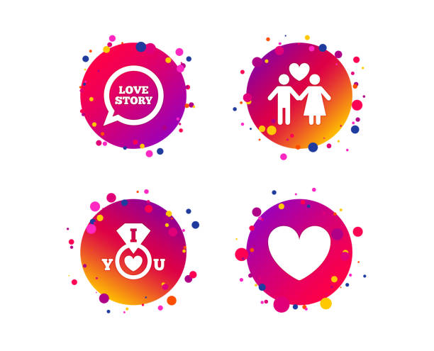 Valentine day icons. I love you ring sign. Vector Valentine day love icons. I love you ring symbol. Couple lovers sign. Love story speech bubble. Gradient circle buttons with icons. Random dots design. Vector boyfriend stock illustrations