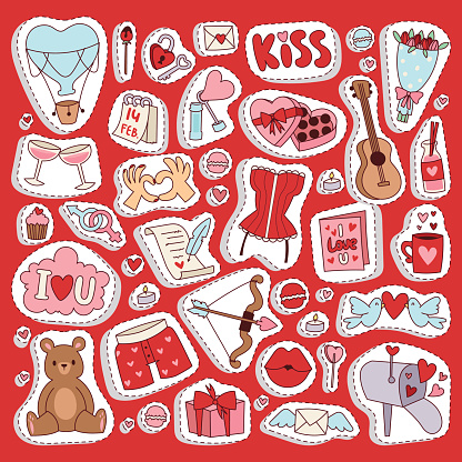 Valentine Day icons symbols vector illustration collection