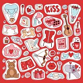 Set of love doodle 14 february Valentine Day icons vector illustration. Save the date decoration typography romantic happy greeting sign. Beautiful wedding gift.