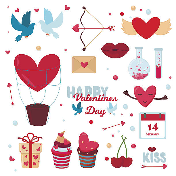 valentine day icons vector illustration - birds calendar stock illustrations, clip art, cartoons, & icons