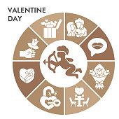 istock Valentine day infographic design template with icons. Romantic holidays infographic visualization on white background. Love relationship. Creative vector illustration for infographic. 1287534325