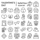 Valentine day line icon set. Love and winter holiday signs collection, sketches, logo illustrations, web symbols, outline style pictograms package isolated on white background. Vector graphics