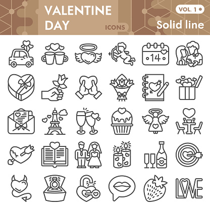 Valentine day line icon set, Romantic relationship symbols collection or sketches. Couple in love linear style signs for web and app. Vector graphics isolated on white background.