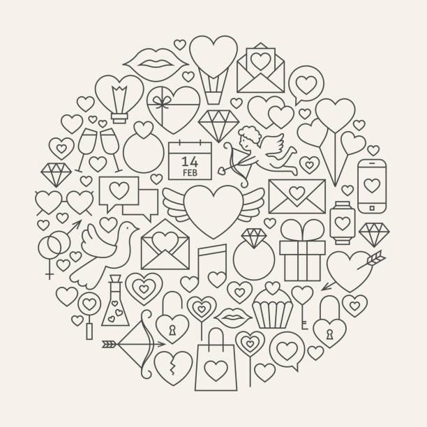illustrations, cliparts, dessins animés et icônes de ligne icônes de la saint-valentin en forme de cercle - calendrier de l'avant
