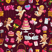Valentine day pattern of love hearts, cupid angels with balloons and roses flowers. Vector seamless background of wedding ring and cake, love potion in pot with heart lock and key pattern