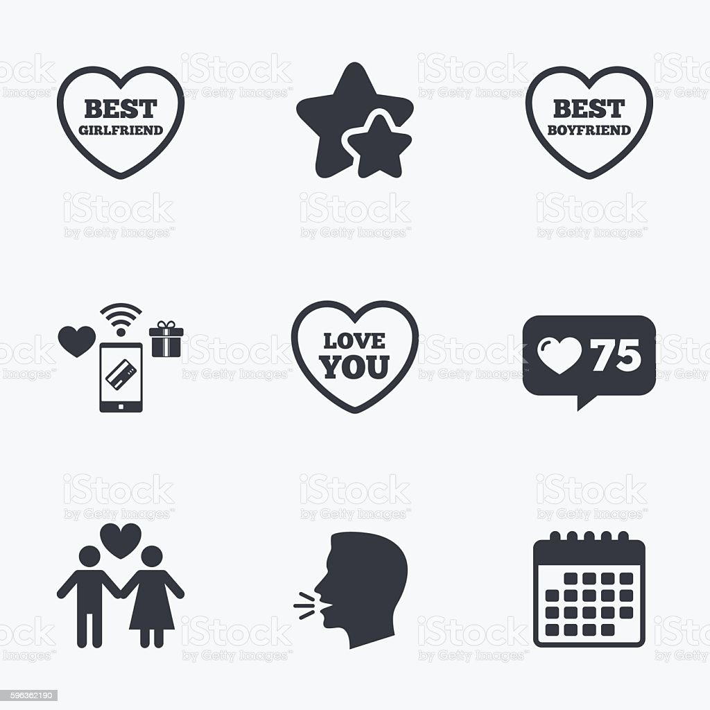Valentine day love icons. Best girlfriend. royalty-free valentine day love icons best girlfriend stock vector art & more images of adult