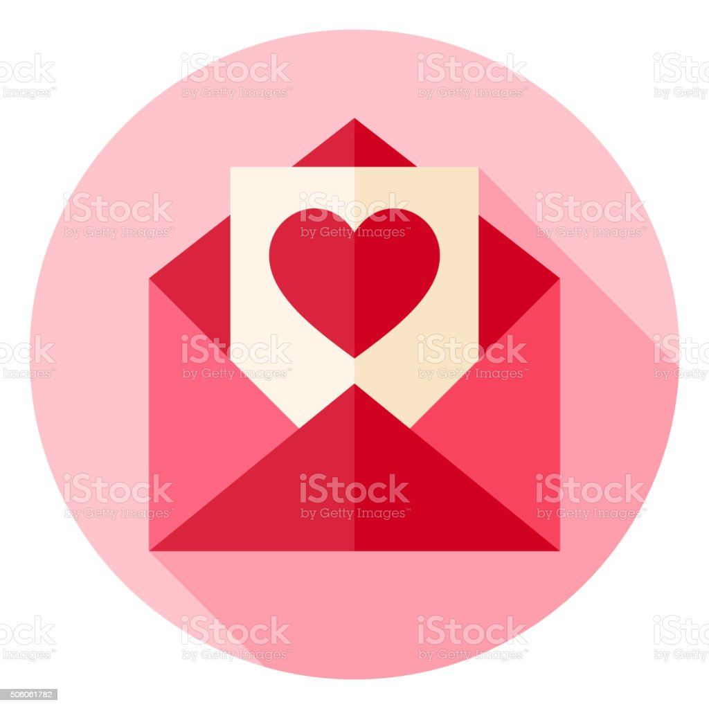 Valentine Day Love Postcard with Envelope Circle Icon vector art illustration
