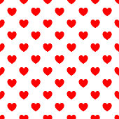 Polka dot seamless - Red hearts on white background